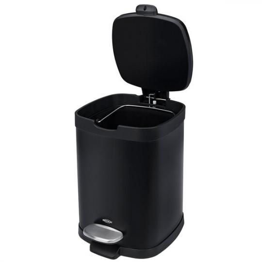 lixeira aço carbono brinox com pedal e balde frame removível 6l