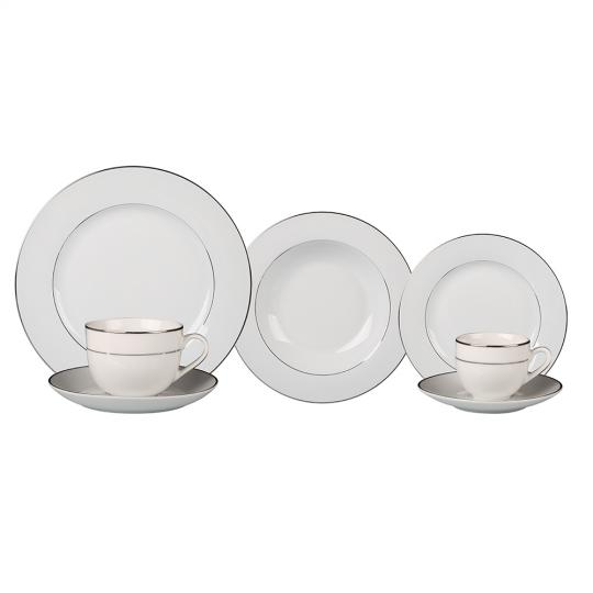 aparelho de jantar 42 peças magesty silver porcelana l hermitage /+