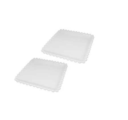 jogo de 2 petisqueira em porcelana branca 20x20 cm bon gourmet