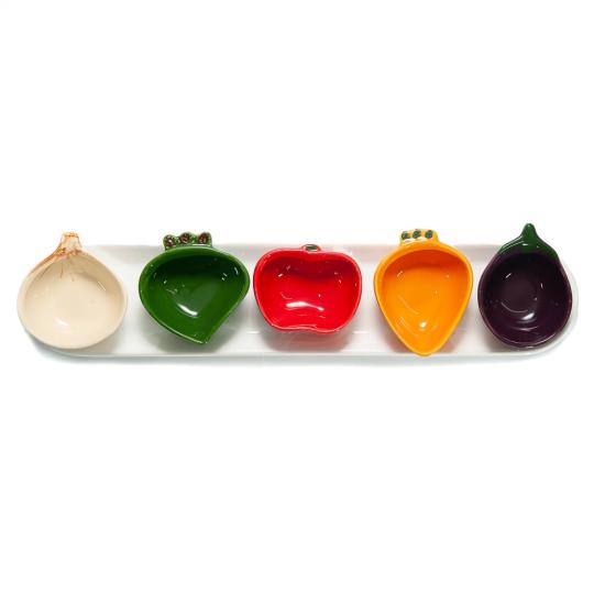 petisqueira bandeja com 5 bowls legumes scalla