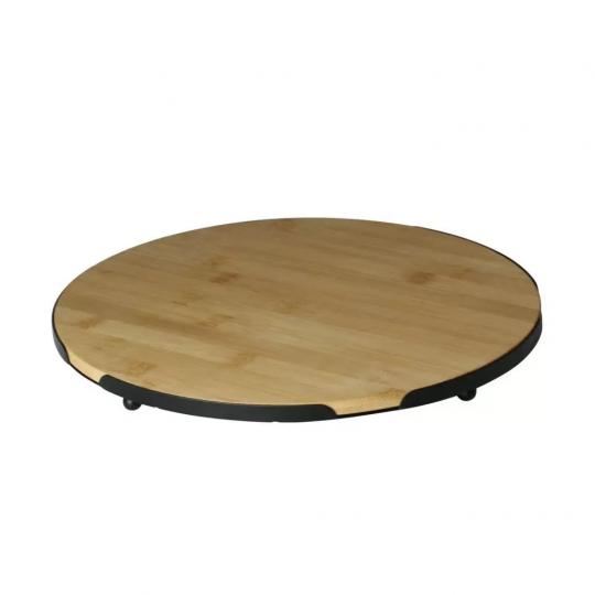 bandeja redonda de bambu e metal 28cm  lyor /: