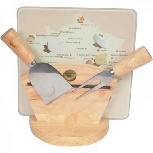 conjunto de tábua e facas para queijo