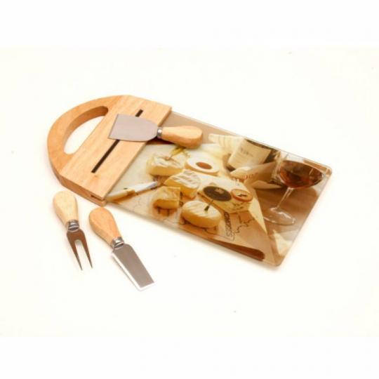 conjunto tabua de vidro e 4 facas de queijo