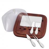 kit com tabua e 4 facas para queijo btc
